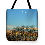 Contrail At Dusk Tote Bag