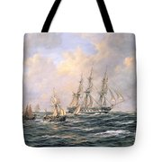 Convoy Of East Indiamen Amid Fishing Boats Tote Bag by Richard Willis