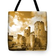 Conwy Castle And The Telford Suspension Bridge North Wales Tote Bag