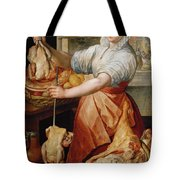 Cook With Chicken. In The Background Christ With Mary And Martha Tote Bag