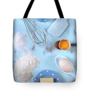 Cooking And Baking On Vintage Blue Wood Table.  Tote Bag