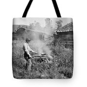Cooking Over A Campfire Tote Bag