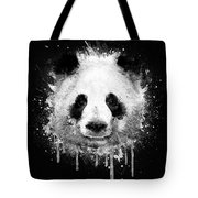 Cool Abstract Graffiti Watercolor Panda Portrait In Black And White  Tote Bag