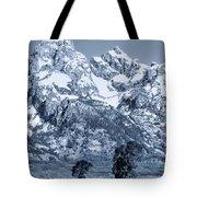 Cool Blue Monotone Grand Teton Tote Bag