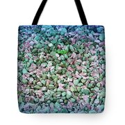 Cool Blue Pink Petals On Stones Tote Bag