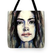 Cool Colored Watercolor Face Tote Bag