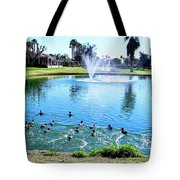 Coots On The Run In A Lake Tote Bag