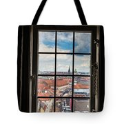Copenhagen Cityscape And Roofs Behind A Window Tote Bag