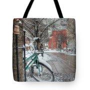 Copenhagen In The Winter.a Lonely Bike Tote Bag