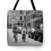 Copenhagen Lovers On Bicycles Bw Tote Bag