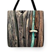 Copper Ground Wire And Knothole On Utility Pole Tote Bag