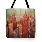 Copper Points, Cityscape Painting Tote Bag