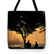 Cops Watch A Fireboat On The Hudson River Tote Bag