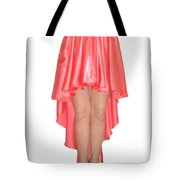 Coral Pink Satin High Low Skirt With High Slit. Ameynra Simple Line Tote Bag