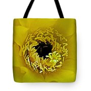 Core Of A Yellow Cactus Flower At Pilgrim Place In Claremont-california Tote Bag