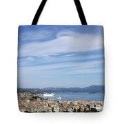 Corfu Town And Port With Cruiser Cityscape Tote Bag