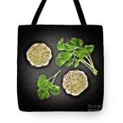 Coriander And Garlic Still Life. Tote Bag