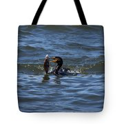 Cormorant Catching A Porgy Tote Bag