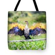 Cormorant Dries Its Wings Tote Bag