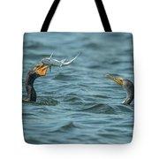 Cormorant Fish Fight Tote Bag