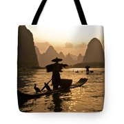 Cormorant Fisherman At Sunset Tote Bag
