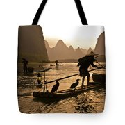 Cormorant Fishermen At Sunset Tote Bag