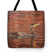Cormorant On Autumn Red Tote Bag