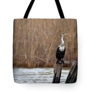Cormorant On Post Tote Bag
