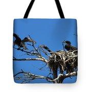 Cormorant Teenager In Nest Begging For Food Tote Bag
