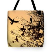 Cormorants At Sunset Tote Bag