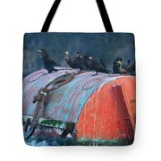 Cormorants On A Barrel Tote Bag