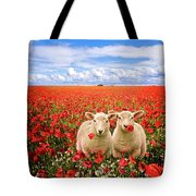 Corn Poppies And Twin Lambs Tote Bag by Meirion Matthias