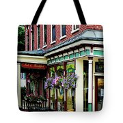 Corner Restaurant With Hanging Plants Tote Bag
