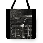 Corner Table - Black And White Tote Bag