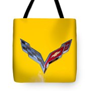 Corvette Emblem On Yellow Tote Bag