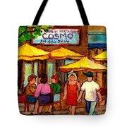 Cosmos  Fameux Restaurant On Sherbrooke Tote Bag by Carole Spandau