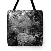 Cottage Black White Gardens Louisiana  Tote Bag