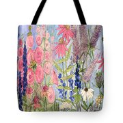 Cottage Flowers With Dragonfly Tote Bag