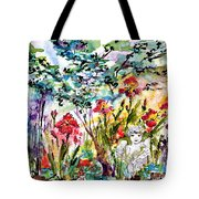 Cottage Garden Angel And Irises Tote Bag