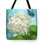 Cottage Garden White Hydrangea With Blue Butterfly Tote Bag