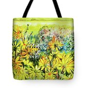 Cottage Gate Seen Through Sun Daisies Tote Bag