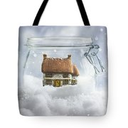 Cottage In Snow Tote Bag