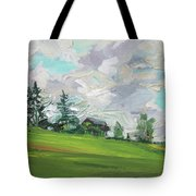 Cottage On The Hill Tote Bag