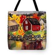 Cottages By A Lake In Autumn  Tote Bag