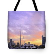 Cotton Candy Sunset Over Miami Tote Bag