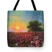 Cotton Field Sunset Tote Bag