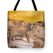 Cougar In The Mountain - 3d Render Tote Bag