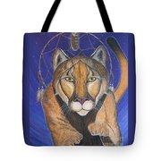 Cougar Medicine With Cobalt Blue Background Tote Bag
