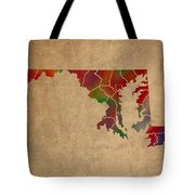 Counties Of Maryland Colorful Vibrant Watercolor State Map On Old Canvas Tote Bag