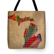 Counties Of Michigan Colorful Vibrant Watercolor State Map On Old Canvas Tote Bag